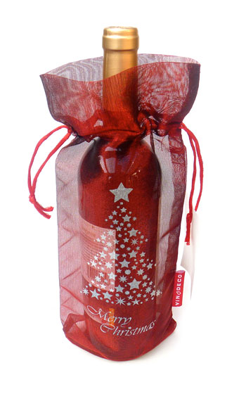 Merry Christmas Tree Wine Bag Transluscent Tissue Red 10 pieces