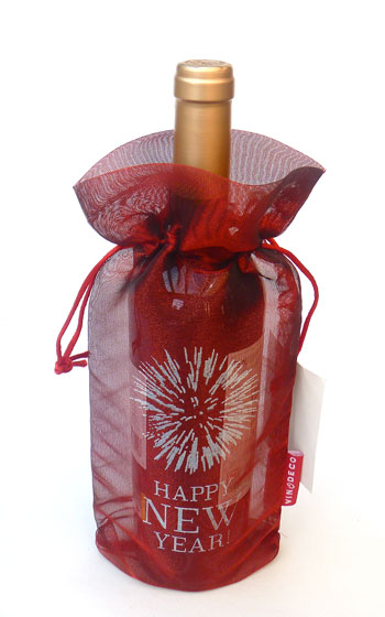 Happy New Year Fireworks Wine Bag Transluscent Tissue Red 10 pieces