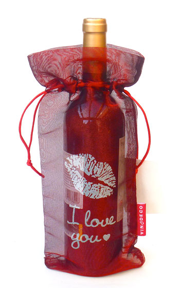 I Love You Wine Bag Transluscent Tissue Red 10 pieces